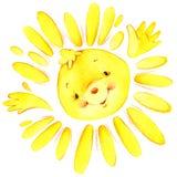 Sol dos desenhos animados e a ilustração da aquarela dos raios do sol Foto de Stock Royalty Free