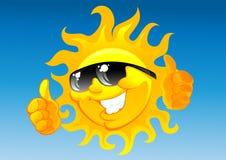Sol dos desenhos animados nos óculos de sol Imagens de Stock Royalty Free