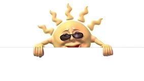 Sol dos desenhos animados que prende o grande sinal branco Fotografia de Stock Royalty Free