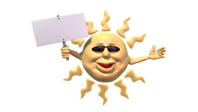 Sol dos desenhos animados que prende o sinal em branco Imagem de Stock Royalty Free