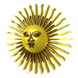 Sol dourado, trajeto de grampeamento incluído ilustração royalty free