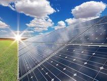Sol- driva posterar - photovoltaics Royaltyfri Fotografi