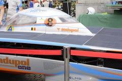 Sol- driven bil Antwerp Arkivbilder