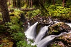 Sol Duc Falls en parc national olympique Photos libres de droits