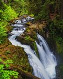Sol Duc Falls, Washington State. View from the bridge overlooking Sol Duc Falls on Olympic Peninsula Stock Photography