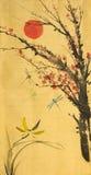 Sol e flores de cerejeira vermelhos ilustração do vetor