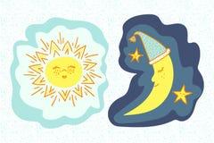 Sol e lua dos desenhos animados Imagem de Stock Royalty Free