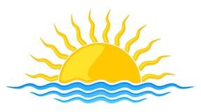 Sol e mar do logotipo Imagem de Stock