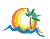 Sol e mar do logotipo Imagens de Stock Royalty Free