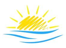 Sol e mar do logotipo Imagens de Stock