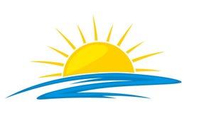 Sol e mar do logotipo ilustração stock