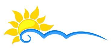 Sol e mar do logotipo Fotos de Stock Royalty Free