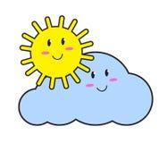 Sol e nuvem doces Vetor ilustração royalty free