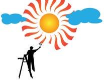 Sol e nuvens da pintura do pintor Imagem de Stock Royalty Free
