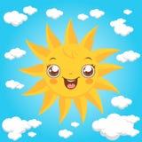 sol e nuvens dos desenhos animados Foto de Stock Royalty Free