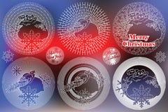 Sol elegante da linha lisa com símbolos do Natal e do ano novo ilustração do vetor