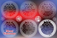 Sol elegante da linha lisa com símbolos do Natal e do ano novo ilustração stock