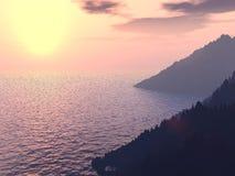 Sol en el mar Foto de archivo libre de regalías