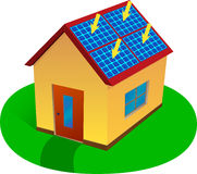 sol- energihus royaltyfri illustrationer