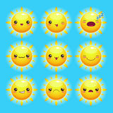 Sol engraçado dos desenhos animados Foto de Stock Royalty Free