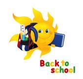Sol engraçado dos desenhos animados com saco de escola Fotos de Stock Royalty Free