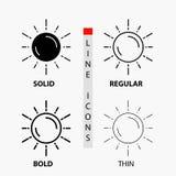 sol, espacio, planeta, astronomía, icono del tiempo en línea y estilo finos, regulares, intrépidos del Glyph Ilustraci?n del vect stock de ilustración