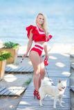sol för bikinikroppkvinna som garvar att koppla av på den sinnliga förföra dammodellen för perfekt tropisk strand som går med den royaltyfri fotografi