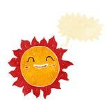 sol feliz dos desenhos animados com bolha do discurso Fotografia de Stock