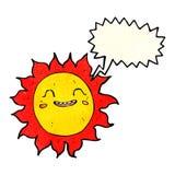 sol feliz dos desenhos animados com bolha do discurso Imagens de Stock Royalty Free