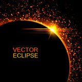 Sol- förmörkelse för vektor Solförmörkelse i utrymmebakgrund Abstrakt sol efter månen Vektorförmörkelsebakgrund kosmisk bakgrund Royaltyfri Bild