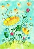 Sol- glänta för barnbild Bin blommor, sommar vektor illustrationer