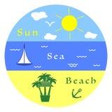 Sol hav, yacht, strand, ankare, stång, palmträd royaltyfri illustrationer