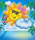 Sol hawaiano con las palmas Fotografía de archivo