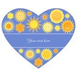 Sol- hjärta med avstånd för text Royaltyfria Foton