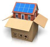 sol- hus för papp för batteriask Royaltyfri Fotografi