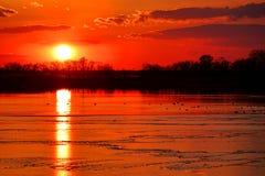 Sol i solnedgånghimmel över den djupfrysta vinter sjön Arkivbilder