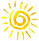 Sol i vattenfärg Royaltyfria Bilder