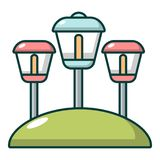 Sol- lampor trädgårds- ljus symbol, tecknad filmstil stock illustrationer