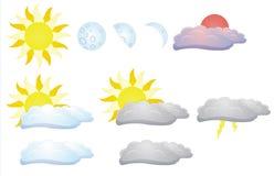 Sol, måne och moln Vektor Illustrationer