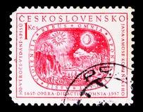 Sol, måne, stjärnor och jord, Jan Amos Komensky (Comenius) serie, royaltyfri bild