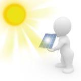 sol- manpanel för holding 3d Arkivfoto