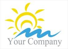 Sol marinho do logotipo, onda ilustração do vetor