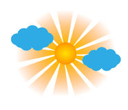 Sol med moln royaltyfri illustrationer