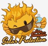 Sol med sommaromsorgrådgivning och Sunscreenlotion, vektorillustration Fotografering för Bildbyråer
