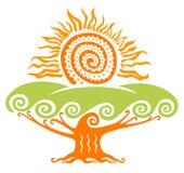 Sol med trädet Royaltyfria Bilder