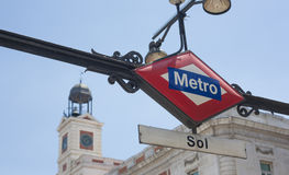 Sol Metro Station Sign in Madrid Stock Images