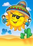 Sol mexicano en el cielo azul Foto de archivo