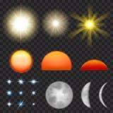 Sol, måne och stjärnor Arkivbild