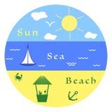 Sol moln, fågel, hav, vågor, yacht, strand, krabba, ankare, stång barn f?r kvinna f?r fritidbergsommar vektor illustrationer