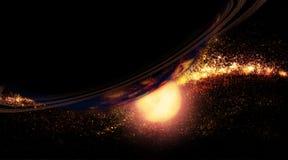 Sol naciente - planeta y galaxia Foto de archivo libre de regalías